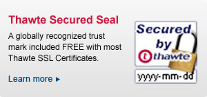 A globally recognized trust mark included free with most Thawte® SSL Certificates. Get the Seal Now!